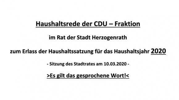 Haushaltsrede der CDU-Fraktion 2020