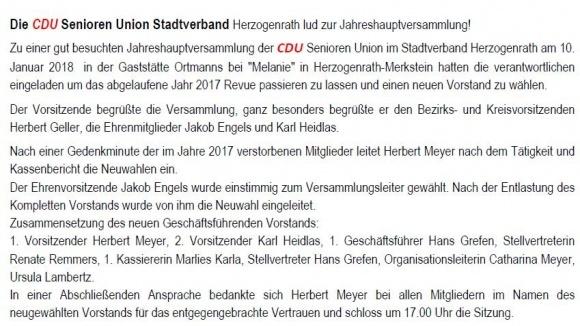Jahreshauptversammlung der CDU Senioren Union Herzogenrath